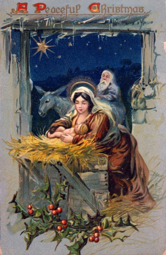 "Stock Photo: 535-145854 Manger Scene- ""A Peaceful Christmas""