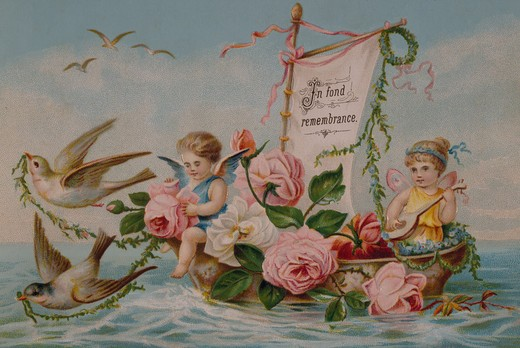 Angels in Boat, Nostalgia Cards : Stock Photo
