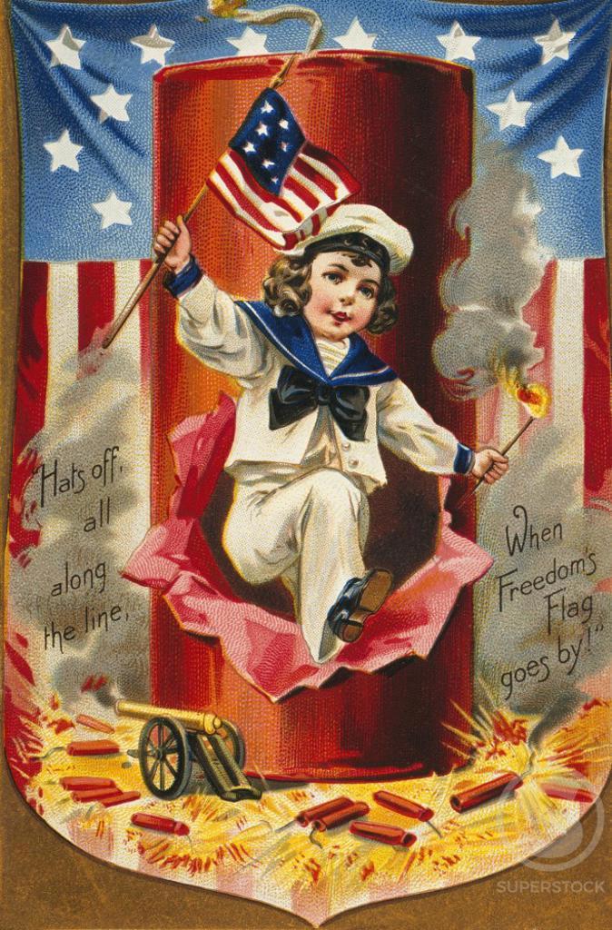Stock Photo: 535-145889 Freedom's Flag Nostalgia Cards