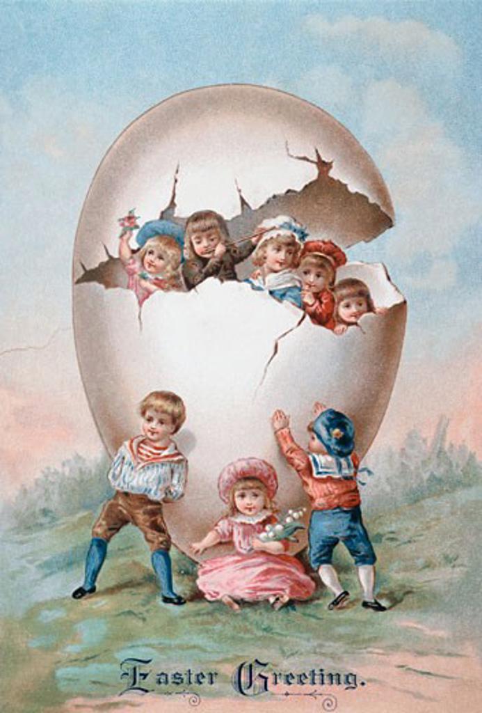 Easter Greetings Nostalgia Cards : Stock Photo