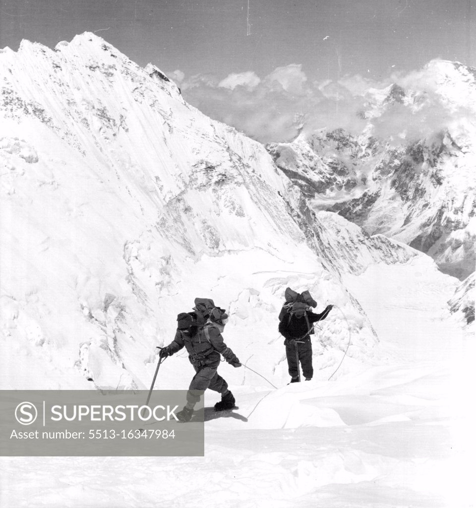 Stock Photo: 5513-16347984 British Everest 1953 Expedition -- Bourdillon and Evans on the approach to the South Col, during their attempt to climb to the summit of Everest of May 26. They climbed to a height of 28,500ft.June 24, 1953.