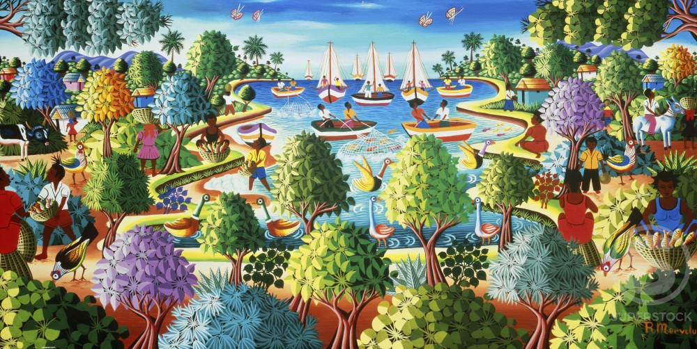 Stock Photo: 597-10545 Tree Landscape With Sailing Boats by R. Mervilus, Oil on board, Nostalgia UK, 500