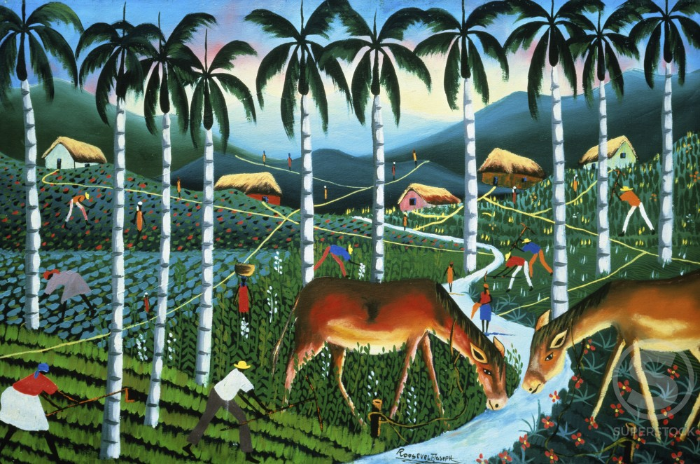 Stock Photo: 597-10558 Landscape with Royal Palms by Roosevelt, oil on wood panel, 1952-Present, Private Collection