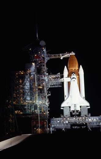 Space shuttle on a launch pad, Space Shuttle Challenger, Kennedy Space Center, Cape Canaveral, Florida, USA : Stock Photo