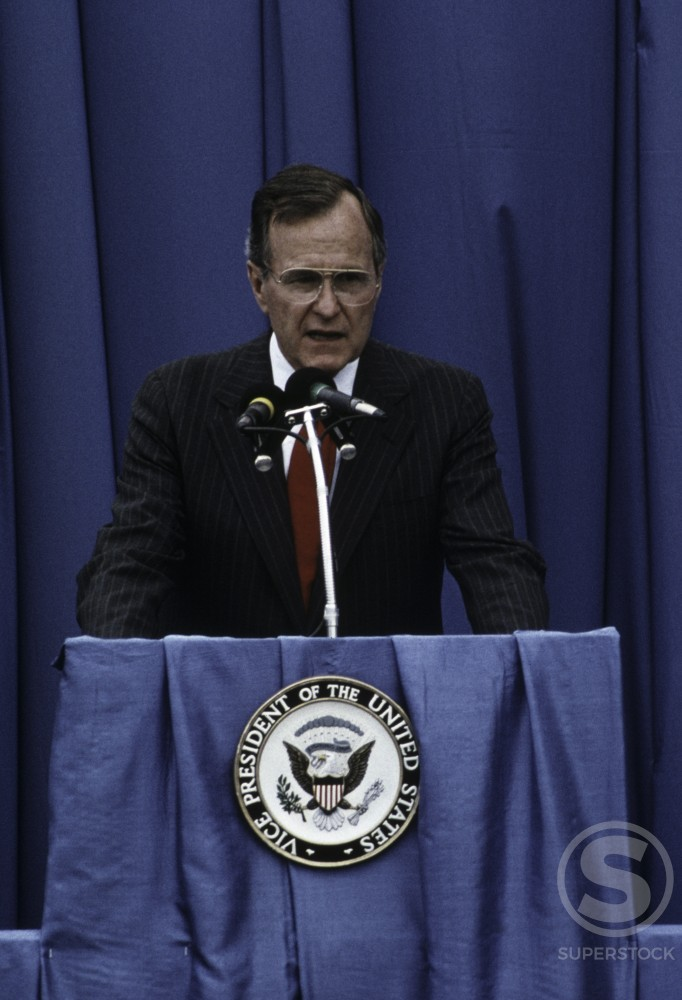 Stock Photo: 608-W1672A Vice President George Bush, Charlotte, North Carolina, USA, C. 1987