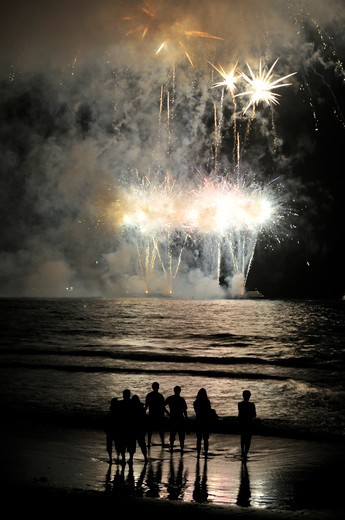 Fireworks, Santa Monica Pier, Santa Monica, California, USA : Stock Photo