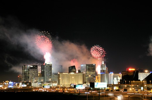 Firework display at New year's eve in a city, Las Vegas, Nevada, USA : Stock Photo
