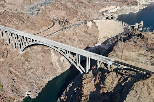 Aerial view of a bridge, Hoover Dam Bypass Bridge, Hoover Dam, Arizona Nevada Border, USA : Stock Photo