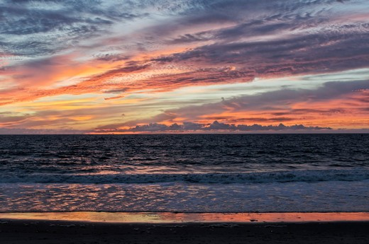Stock Photo: 618-291A Sunset over the ocean, Dockweiler Beach, Westchester, City Of Los Angeles, California, USA