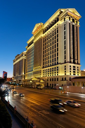 Luxury hotel at dusk, Caesars Palace, Flamingo Boulevard, Las Vegas, Nevada, USA : Stock Photo