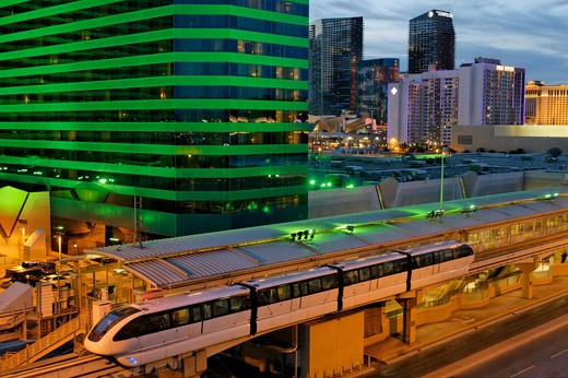 Stock Photo: 618-299 Las Vegas monorail station in front of a hotel, MGM Grand Las Vegas, Las Vegas, Nevada, USA