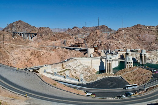 USA, Arizona, Hoover Dam hydro-electric power plant with the US 93 bypass in background to left, : Stock Photo