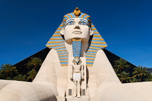 Stock Photo: 618-380 USA, Nevada, Las Vegas, Replica of Egyptian sphinx at Luxor Hotel and Casino resort
