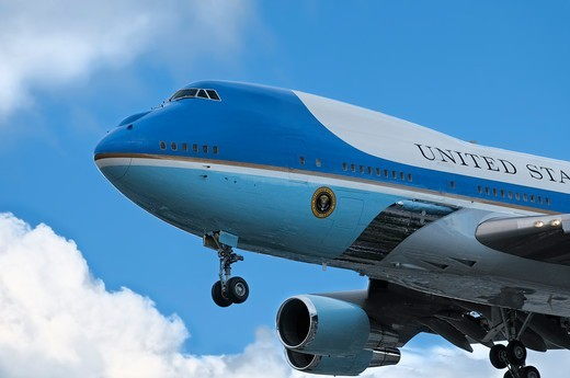 Stock Photo: 618-445 USA, California, Los Angeles, Front end of Boeing VC-25 - special version of Boeing 747-200 - known as 'Air Force One' coming in for landing carrying president Obama on visit to Los Angeles, February, 2012