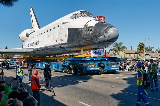 USA, California, Los Angeles, Space shuttle Endeavour being towed : Stock Photo