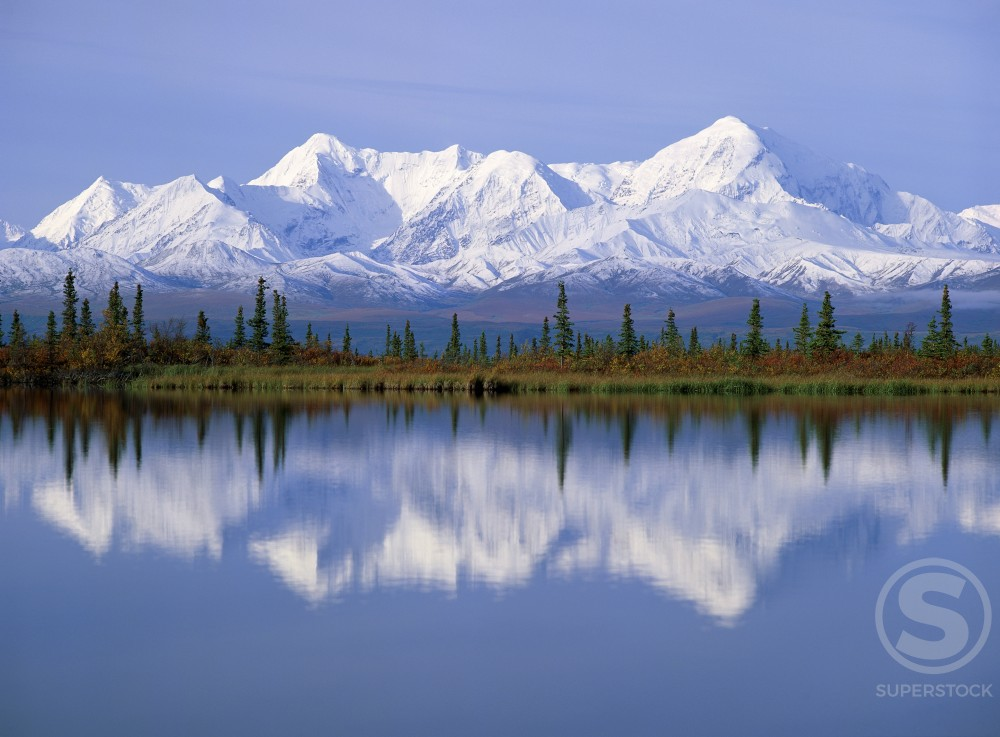 Snow covered mountains near a lake, Alaska, USA : Stock Photo