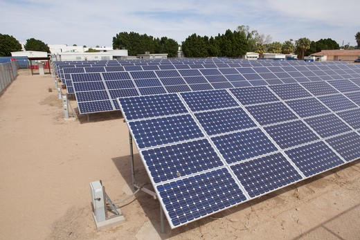 Stock Photo: 620-2952 Solar panel at Pioneer Hospital Solar Garden, Brawley, Imperial County, California, USA