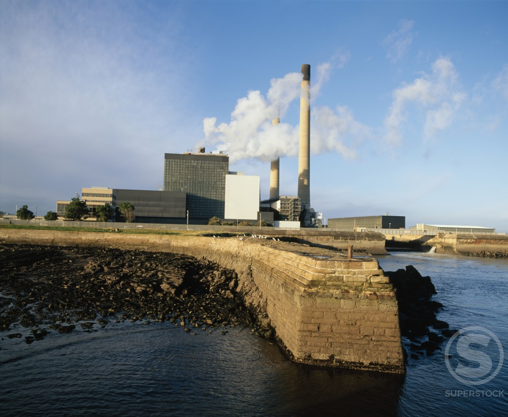 Power station at the seaside, Cockenzie Power Station, East Lothian, Scotland : Stock Photo