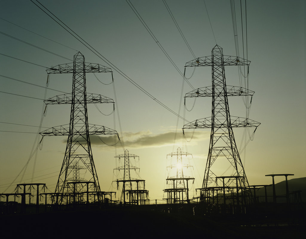 Stock Photo: 633R-219 Silhouette of electricity pylons