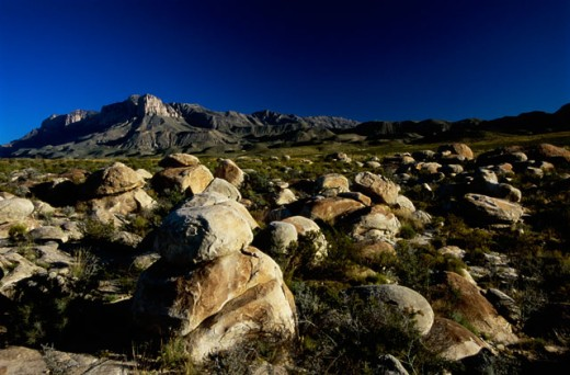 Rocks on a landscape, Guadalupe Mountains National Park, Texas, USA : Stock Photo
