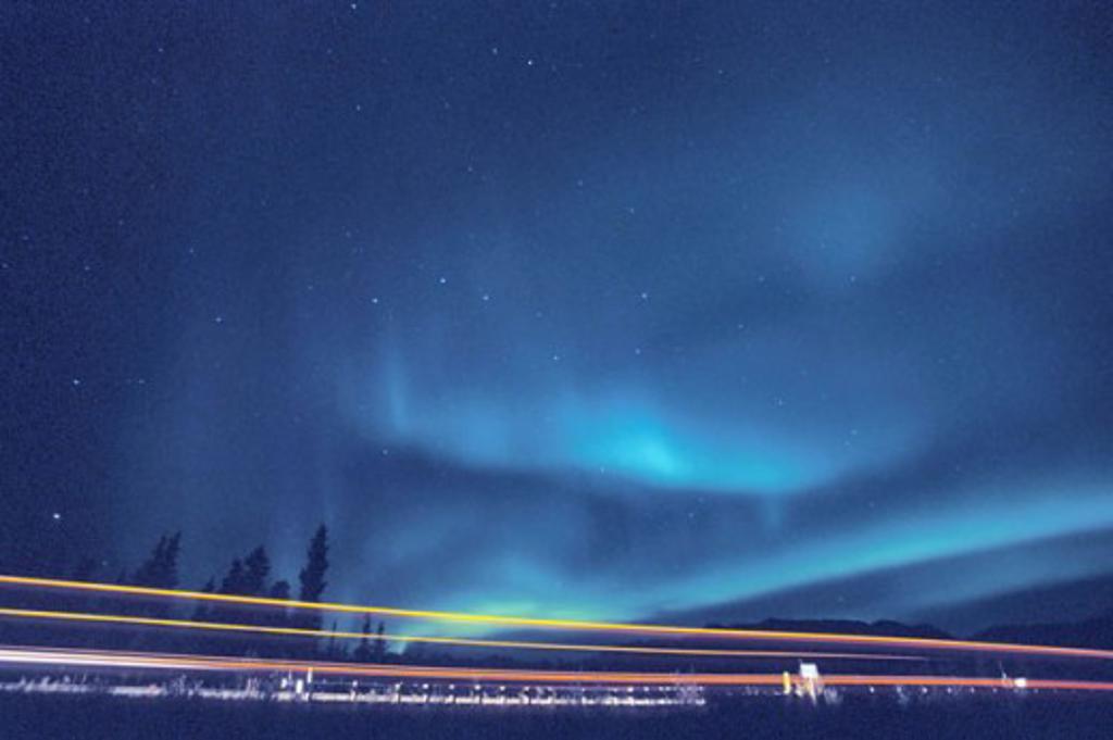 Aurora borealis in the sky at night, Alaska, USA : Stock Photo