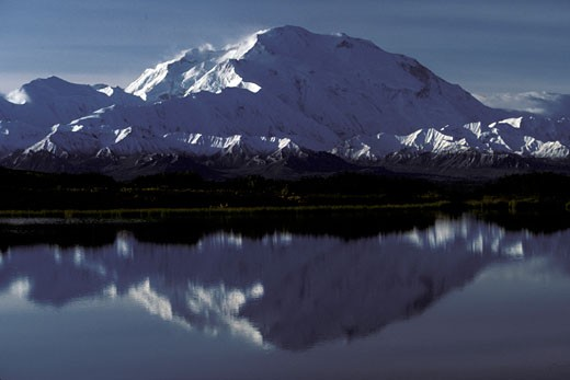 Stock Photo: 647-1830 Reflection of a snow covered mountain in a pond, Mt McKinley, Denali National Park, Alaska, USA
