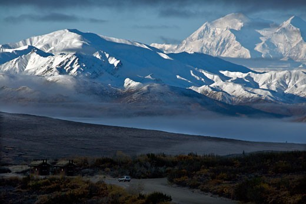 Stock Photo: 647-1841 Panoramic view of snow covered mountains, Denali National Park, Alaska, USA