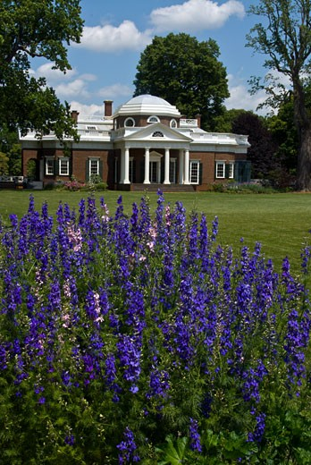 Facade of a mansion, Home of Thomas Jefferson, Monticello, Charlottesville, Virginia, USA : Stock Photo