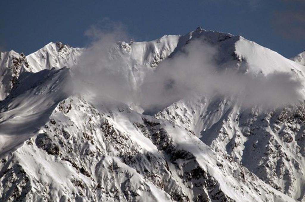 Snow covered mountain, Chugach Mountains, Matanuska Glacier, Alaska, USA : Stock Photo