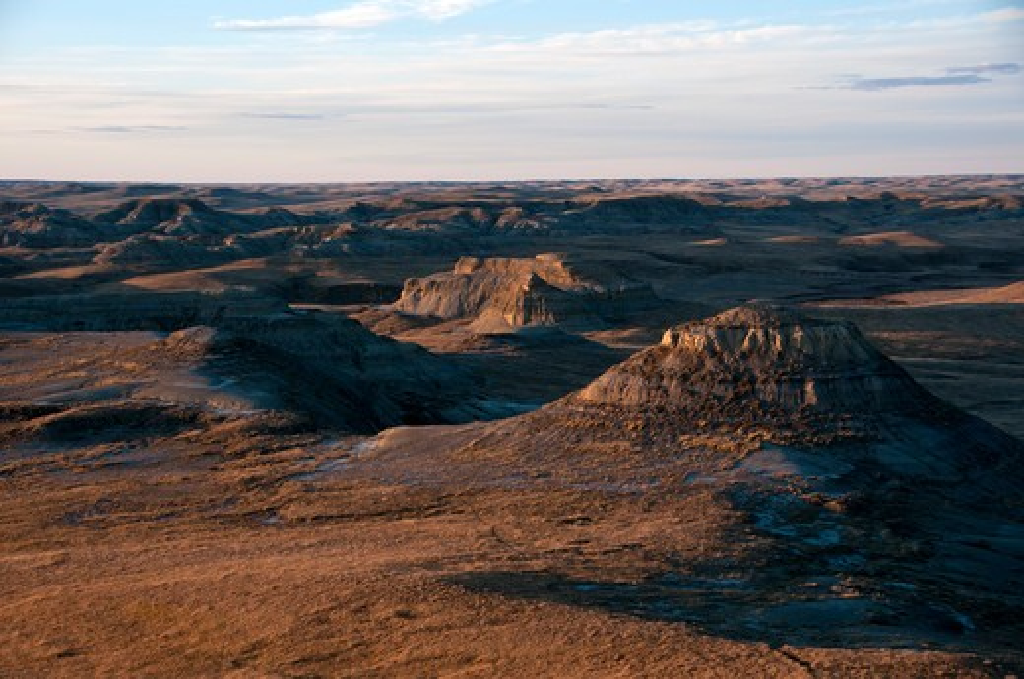 Rock formations in a desert, Grasslands National Park, Saskatchewan, Canada : Stock Photo