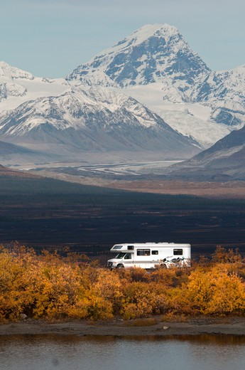 Stock Photo: 647-2455 RV with Mt. Deborah of Alaska range in background. September and fall colors.