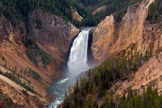 Lower Yellowstone Falls and the Grand Canyon of the Yellowstone. Wyoming : Stock Photo