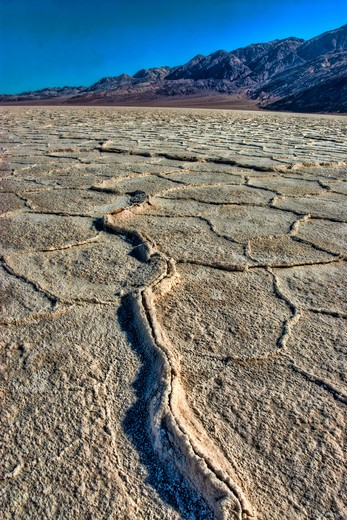 Stock Photo: 647-2478 salt flats-badwater-lowest point in usa-minus 282 feet elevation-death valley national park-california
