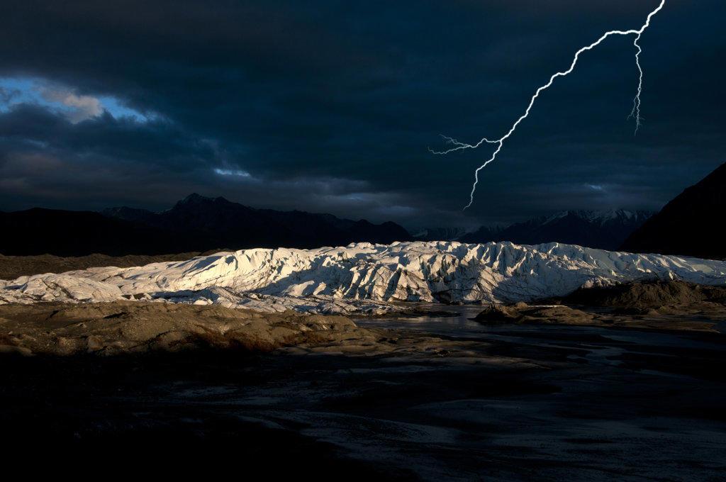 USA, Alaska, Thunderstorm over Matanuska Glacier : Stock Photo