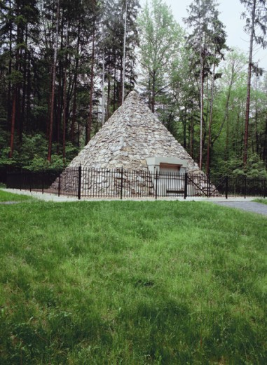 Monument in a park, James Buchanan's Birthplace, Fort Loudon, Pennsylvania, USA : Stock Photo