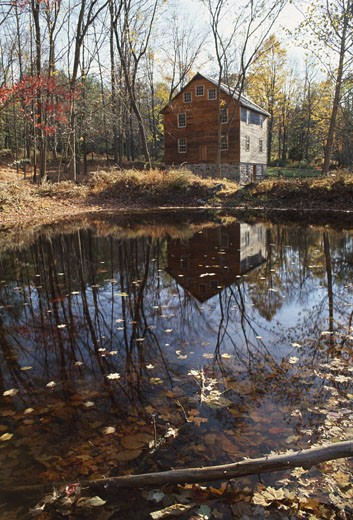 Stock Photo: 655-186A Reflection of trees in water, Millbrook Mill, Delaware Water Gap National Recreation Area, New Jersey, USA