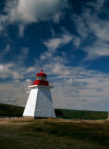 Lighthouse on the coast, Neil Harbor Lighthouse, Neil's Harbor, Nova Scotia, Canada : Stock Photo