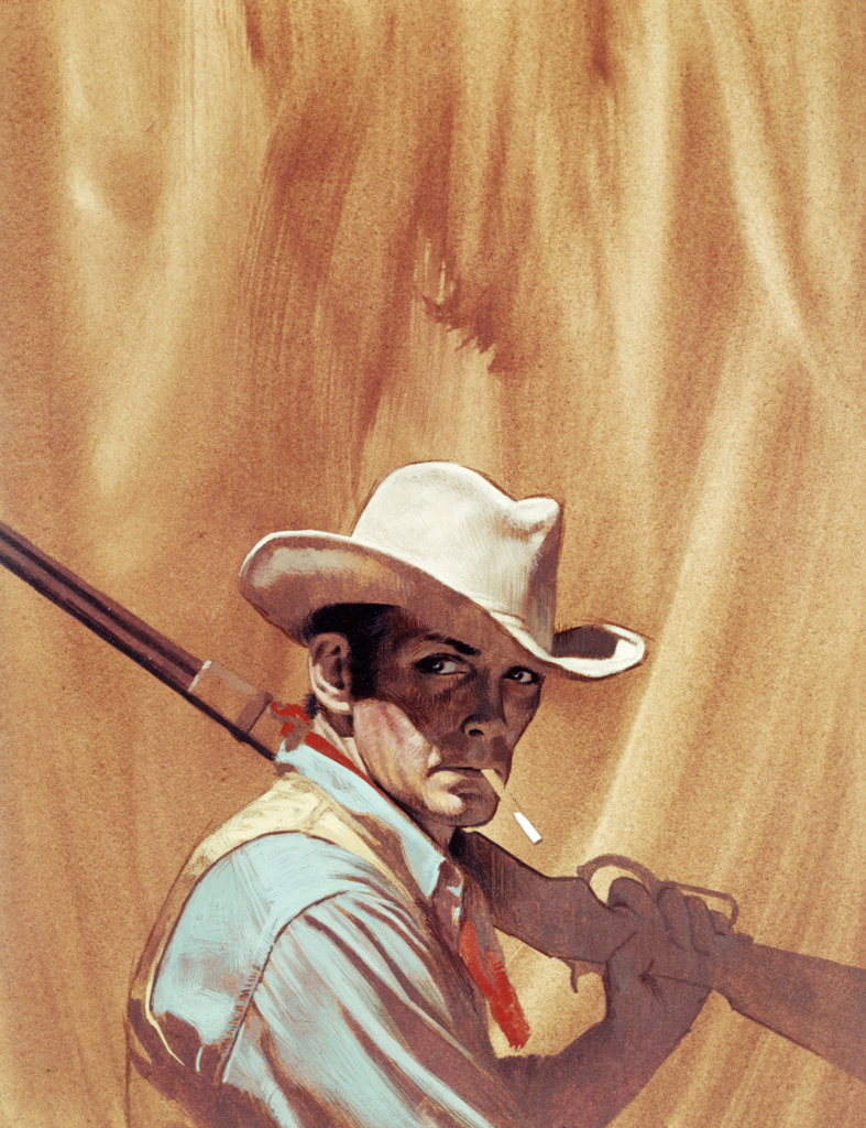 Stock Photo: 708-132433 Cowboy holding rifle Stanley Borack, born in 1928