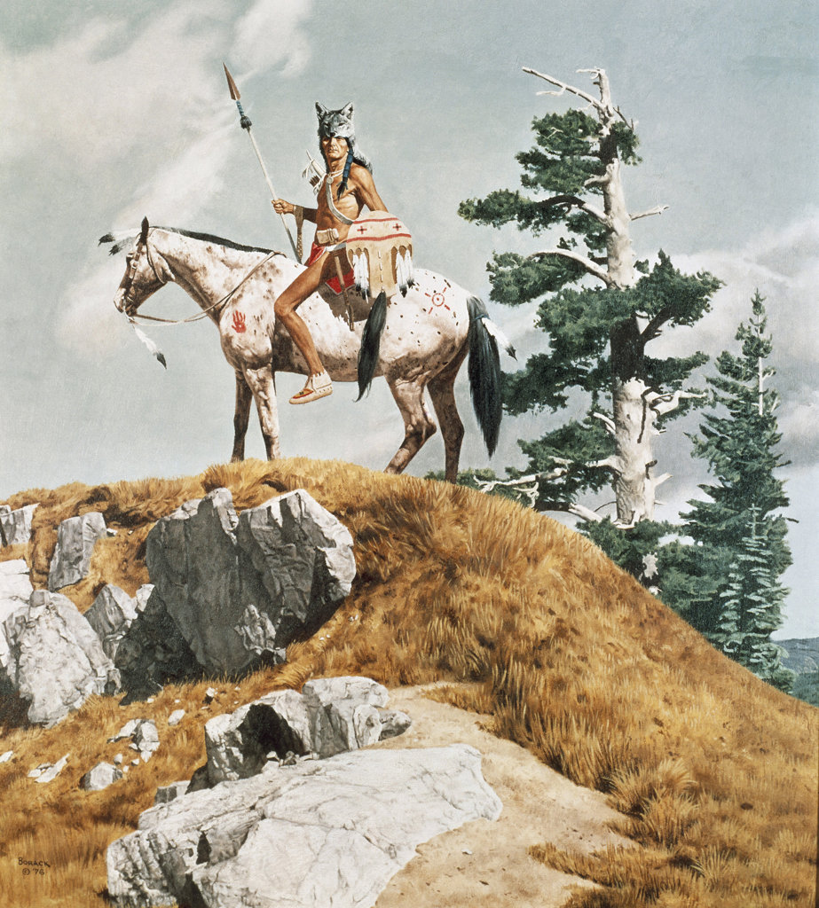 Native American In A Wolfskin Holding A Spear And Shield On Horseback 1976 Stanley Borack (b1927/American) : Stock Photo