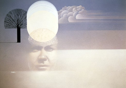 Stock Photo: 748-142691 Abstract collage with man face cloud and lonely tree