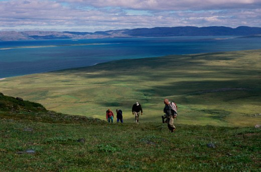 People hiking up a hill, Northwest Territory, Canada : Stock Photo