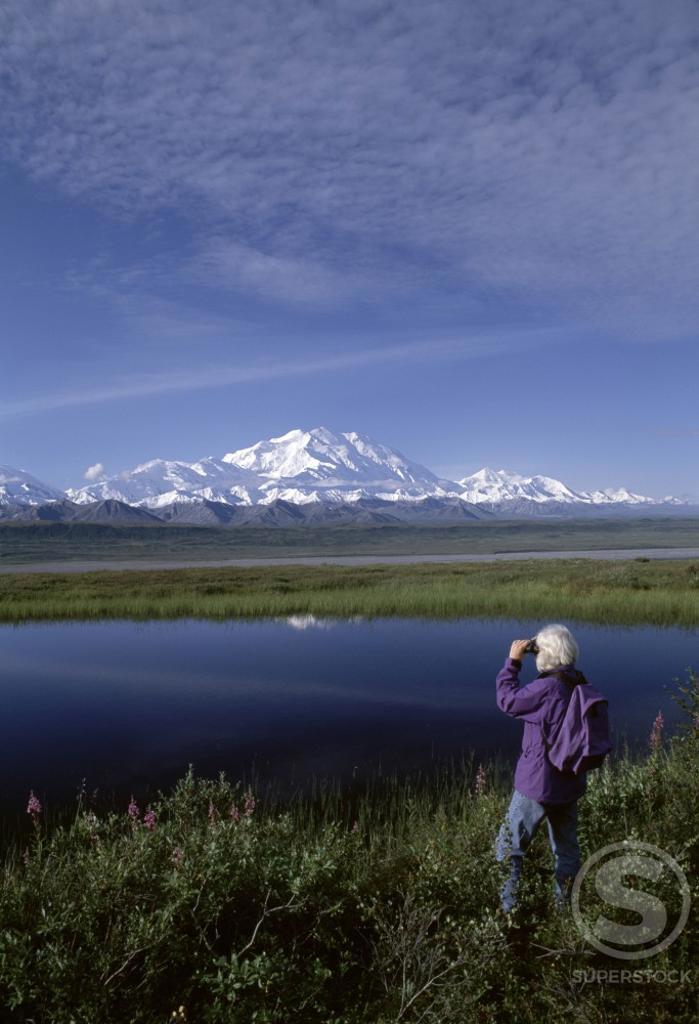 Tourist looking at scenery through binoculars, Mt McKinley, Denali National Park, Alaska, USA : Stock Photo