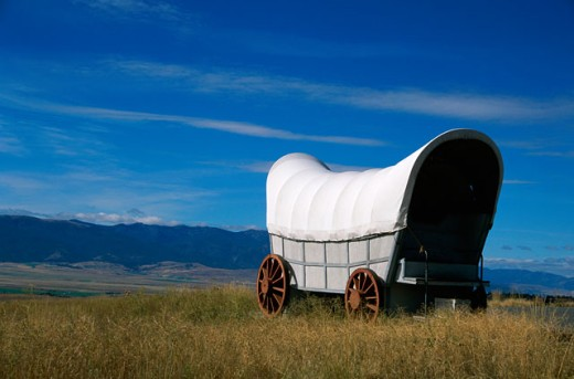 Covered wagon in a field, Oregon, USA : Stock Photo
