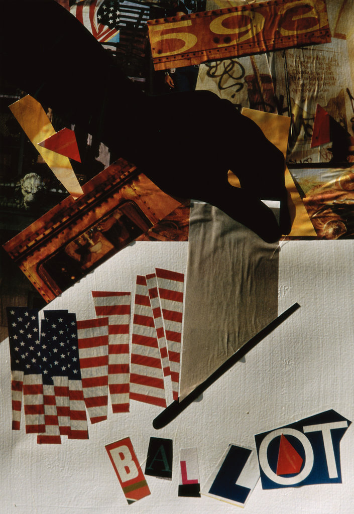 Stock Photo: 822-545 Ballot Box, 2005, Gil Mayers (b.1947/American), Collage