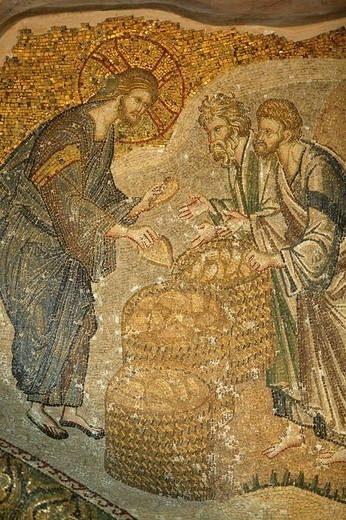 CHRISTIANISM. CHRISTIANISM The multiplication of loaves of bread, mosaic in the St. Saviour of Chora church, Istanbul, Turkey. : Stock Photo