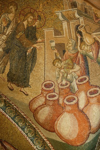 Stock Photo: 824-101871 CHRISTIANISM. CHRISTIANISM Turning water into wine miracle, mosaic in the St. Saviour of Chora church, Istanbul, Turkey.