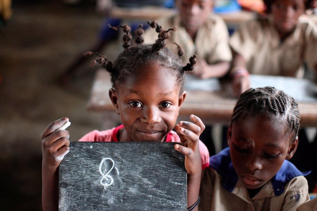 Stock Photo: 824-104258 TEACHING IN AFRICA. African school.