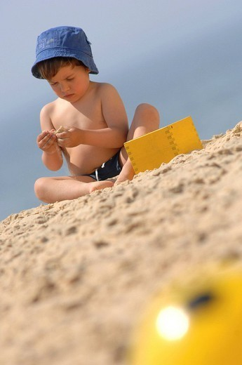 CHILD, SEASIDE. CHILD SEASIDE Model. 2_year_old baby boy. : Stock Photo