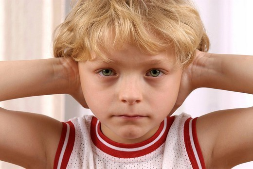 OTITIS IN A CHILD. OTITIS IN A CHILD Model. : Stock Photo