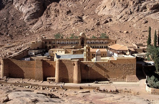 SINAI, EGYPT. SINAI, EGYPT In the Sinai desert, monastery of the Greek orthodox church Saint_Catherine built under the reign of the emperor Justinian 525_565 at the VIth century. : Stock Photo